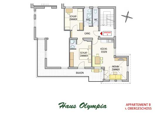 Grundriss Appartment B Haus Olympia in Lans